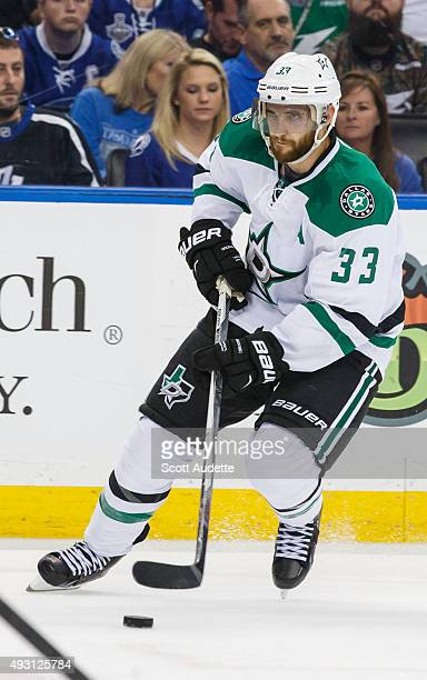 Alex Goligoski of the Dallas Stars against the Tampa Bay Lightning during the second period at the Amalie Arena on October 15 2015 in Tampa Florida