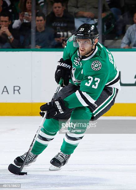 Alex Goligoski of the Dallas Stars handles the puck against the Winnipeg Jets at the American Airlines Center on November 12 2015 in Dallas Texas
