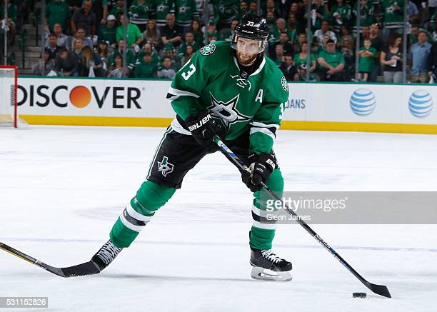 Alex Goligoski of the Dallas Stars handles the puck against the St Louis Blues in Game Five of the Western Conference Second Round during the 2016...