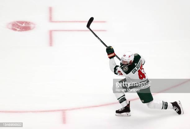 Alex Goligoski of the Minnesota Wild at Honda Center on October 15, 2021 in Anaheim, California.