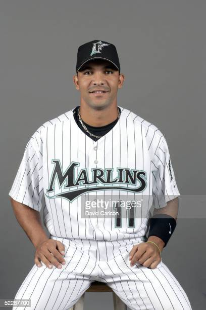 Alex Gonzalez of the Florida Marlins poses for a portrait during photo day at Roger Dean Stadium on February 26 2005 in Jupiter Florida