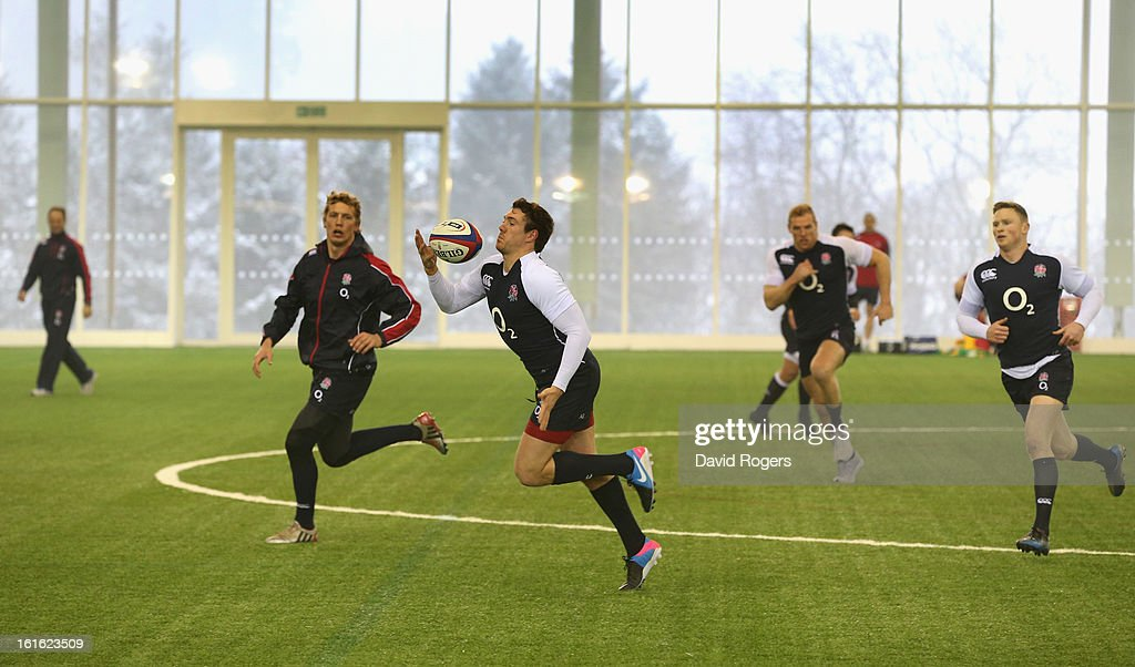 Alex Goode catches the ball during the England training session held at St Georges Park on February 13, 2013 in Burton-upon-Trent, England.