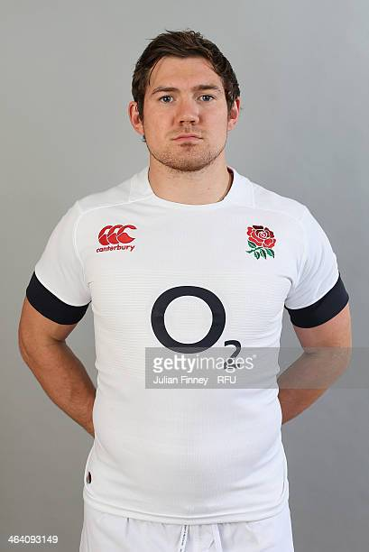 Alex Goode of England poses for a portrait during the England Six Nations Squad Photo Call at the Penny Hill Hotel on January 20 2014 in Bagshot...