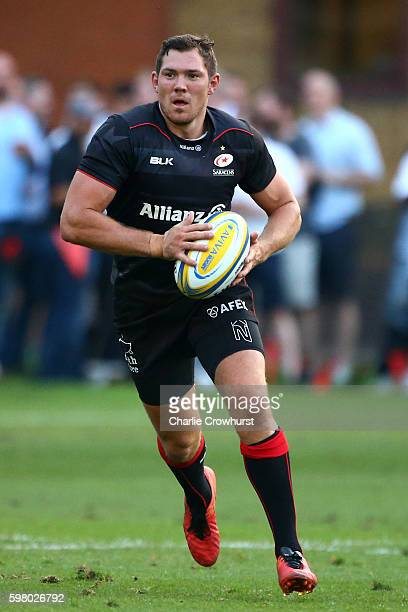 Alex Goode of Saracens in action during the pre season friendly match between Saracens and London Scottish FC at Honourable Artillery Company on...