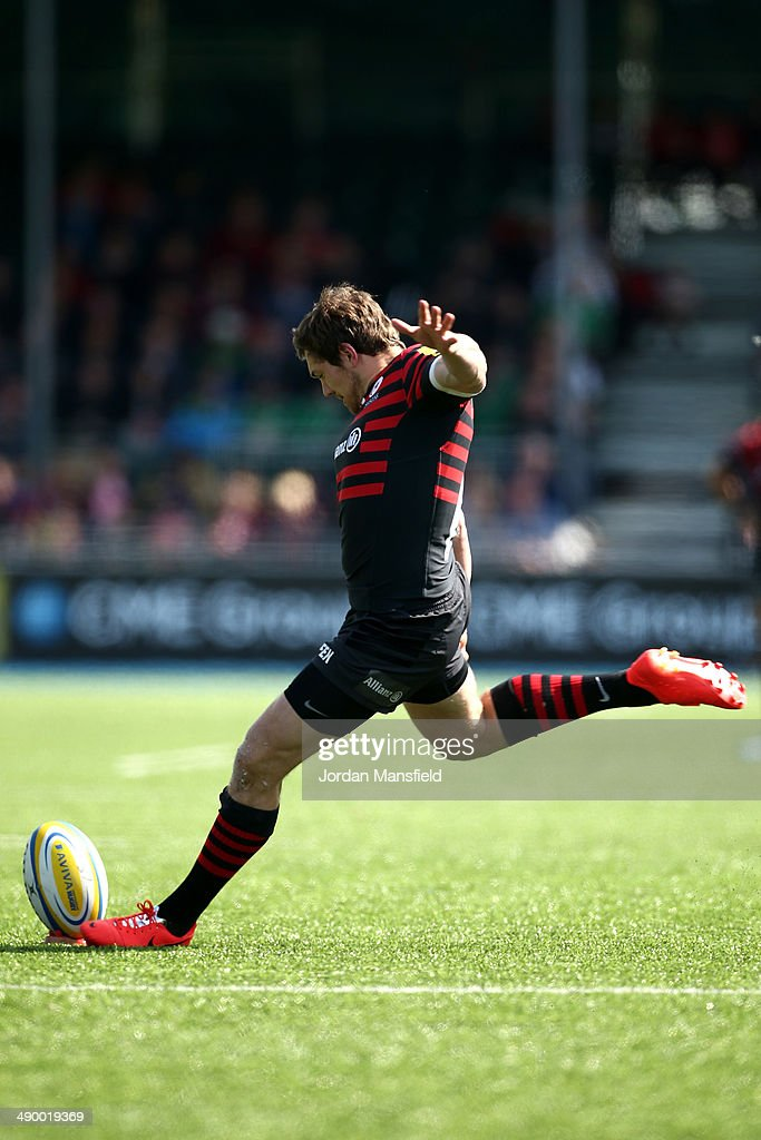 Alex Goode of Saracens kicks during the Aviva Premiership between Saracens and Worcester Warriors at Allianz Park on May 3, 2014 in Barnet, England.