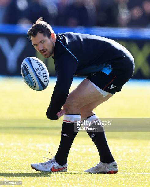 Alex Goode of Saracens looks on prior to the Gallagher Premiership Rugby match between Saracens and Wasps at StoneX Stadium on October 24, 2021 in...