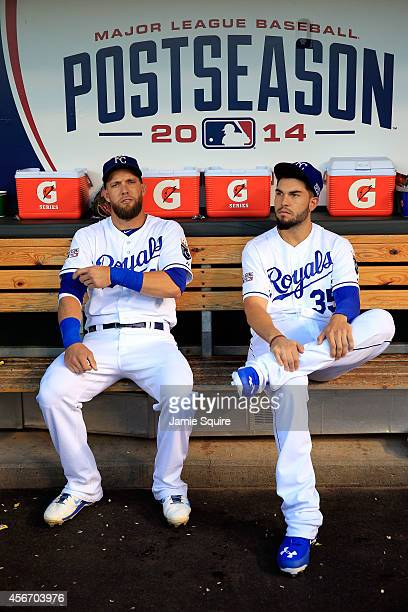 Alex Gordon and Eric Hosmer of the Kansas City Royals sit in the dugout ahead of Game Three of the American League Division Series against the Los...