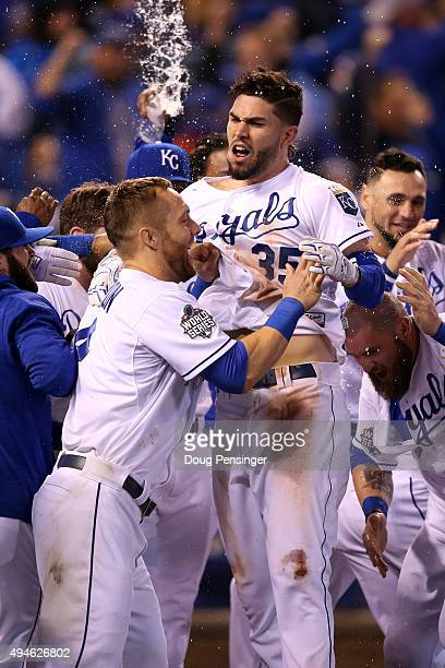 Alex Gordon of the Kansas City Royals and Eric Hosmer of the Kansas City Royals celebrate defeating the New York Mets 5-4 in Game One of the 2015...