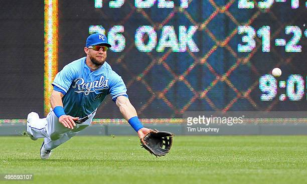 Alex Gordon of the Kansas City Royals dives to field a base hit during the 2nd inning of the game against the Houston Astros at Kauffman Stadium on...