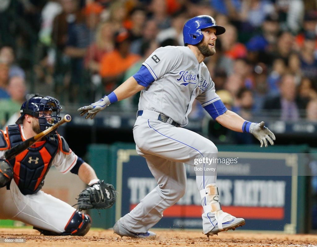 Alex Gordon #4 of the Kansas City Royals doubles in two runs in the eighth inning against the Houston Astros at Minute Maid Park on April 8, 2017 in Houston, Texas.