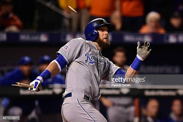 Alex Gordon of the Kansas City Royals doubles to right field scoring Aoki Cain and Butler because of an error by second baseman Jonathan Schoop of...