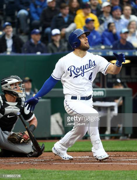 Alex Gordon of the Kansas City Royals hits a fly ball during the first inning of the Opening Day game against the Chicago White Sox at Kauffman...