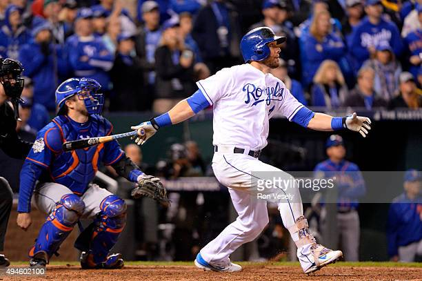 Alex Gordon of the Kansas City Royals hits a game tying home run in the bottom of the ninth inning of Game 1 of the 2015 World Series against the New...