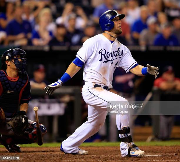 Alex Gordon of the Kansas City Royals hits a gamewinning 2run home run against the Minnesota Twins in the bottom of the 9th inning to win the game 21...