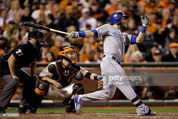 Alex Gordon of the Kansas City Royals hits a RBI double in the sixth inning against the San Francisco Giants during Game Three of the 2014 World...
