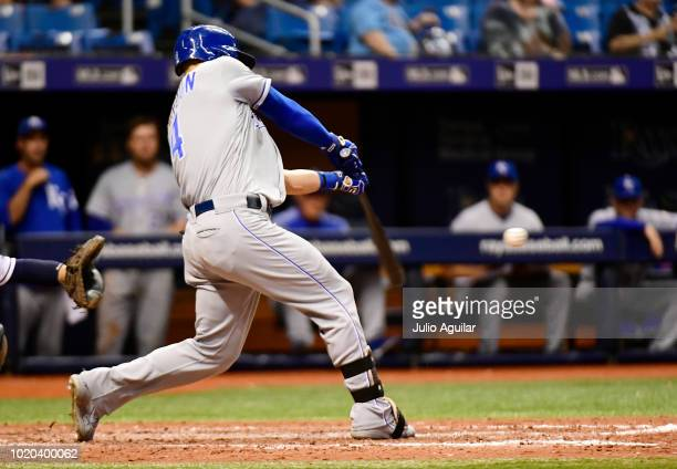 Alex Gordon of the Kansas City Royals hits a single in the eighth inning against the Tampa Bay Rays on August 20 2018 at Tropicana Field in St...