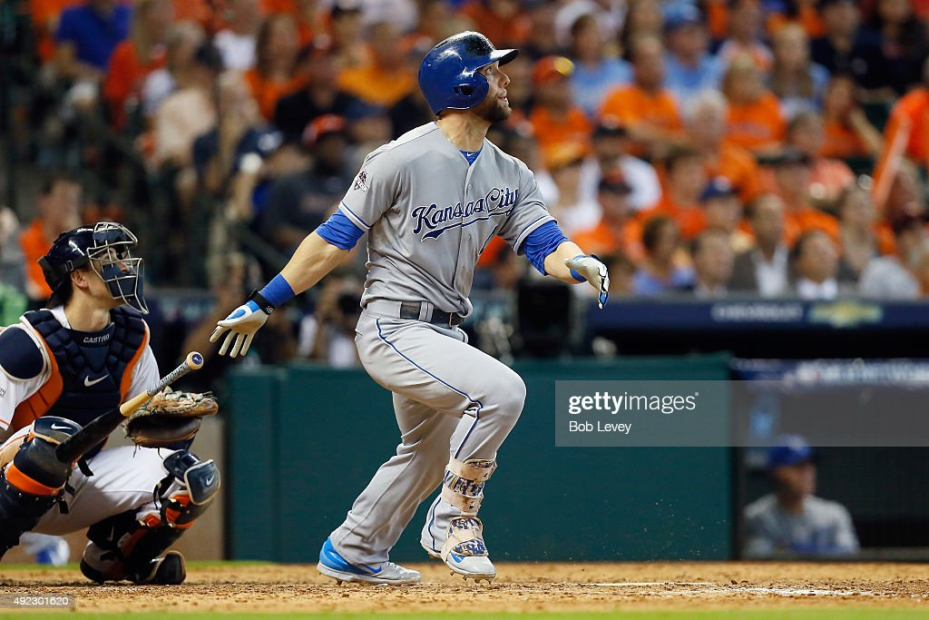 Alex Gordon #4 of the Kansas City Royals hits a solo home run in the ninth inning against the Houston Astros in game three of the American League Division Series at Minute Maid Park on October 11, 2015 in Houston, Texas.