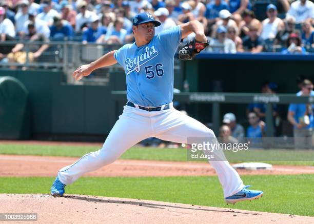 Alex Gordon of the Kansas City Royals hits a tworun double in the fifth inning against the Minnesota Twins at Kauffman Stadium on July 22 2018 in...