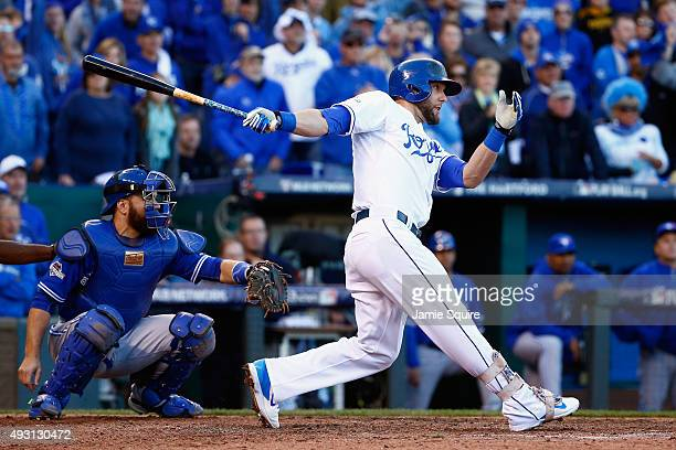 Alex Gordon of the Kansas City Royals hits an RBI double to score Mike Moustakas of the Kansas City Royals in the seventh inning against the Toronto...