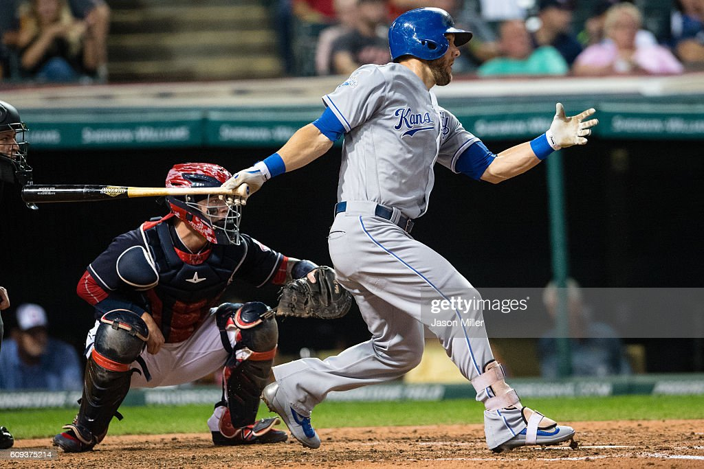Alex Gordon #4 of the Kansas City Royals hits an RBI single during the fifth inning against the Cleveland Indians at Progressive Field on September 20, 2016 in Cleveland, Ohio.