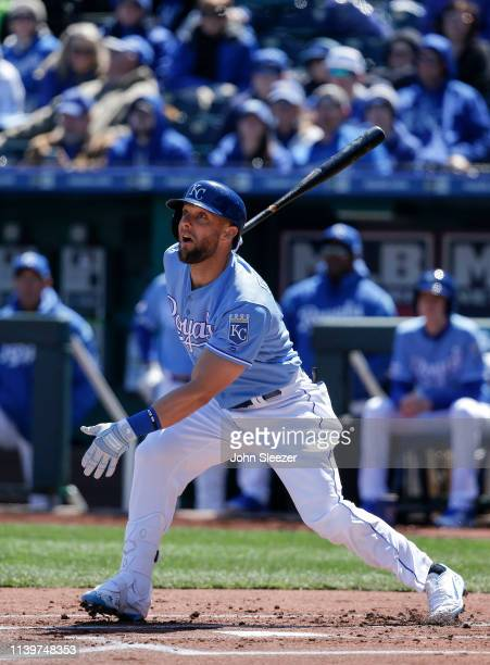 Alex Gordon of the Kansas City Royals in the first inning during the game against the Chicago White Sox at Kauffman Stadium on March 31 2019 in...