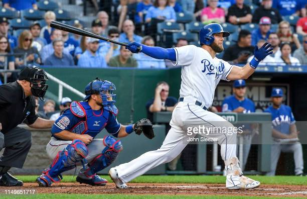 Alex Gordon of the Kansas City Royals in the first inning during the game against the Texas Rangers at Kauffman Stadium on May 15 2019 in Kansas City...
