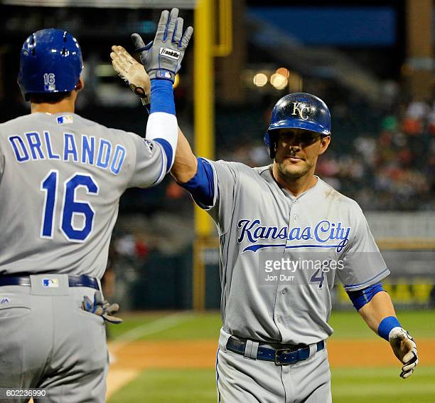 Alex Gordon of the Kansas City Royals is congratulated by Paulo Orlando after hitting a home run against the Chicago White Sox during the fourth...