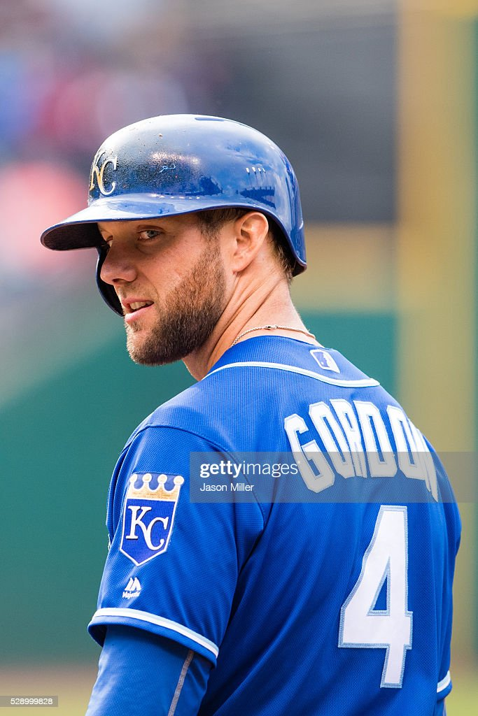 Alex Gordon #4 of the Kansas City Royals reacts to a fan while on first base during the sixth inning against the Cleveland Indians at Progressive Field on May 7, 2016 in Cleveland, Ohio.