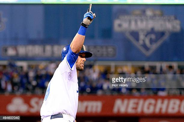 Alex Gordon of the Kansas City Royals rounds the bases after hitting a game tying home run in the bottom of the ninth inning of Game 1 of the 2015...