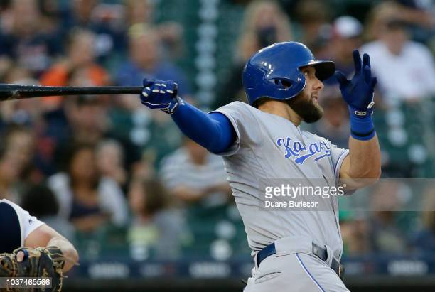 Alex Gordon of the Kansas City Royals singles to drive in Adalberto Mondesi of the Kansas City Royals against the Detroit Tigers during the first...