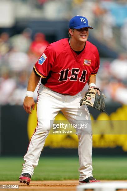 Alex Gordon of the U.S.A. Team fields against the World Team during the XM Satellite Radio All-Star Futures Game at PNC Park on July 9, 2006 in...