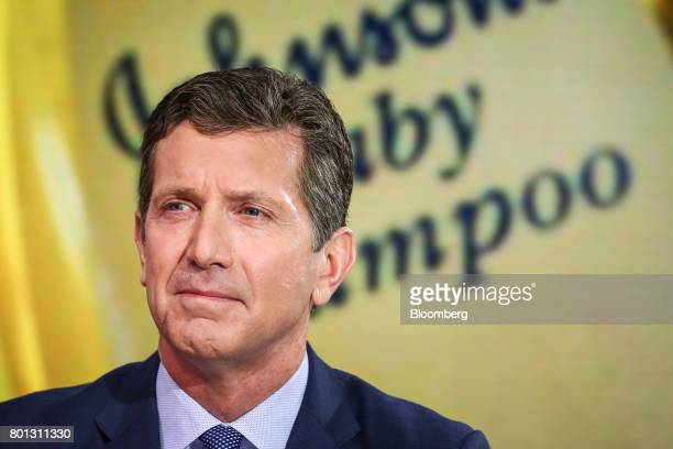 Alex Gorsky chairman and chief executive officer at Johnson Johnson listens during a Bloomberg Television interview in New York US on Monday June 26...