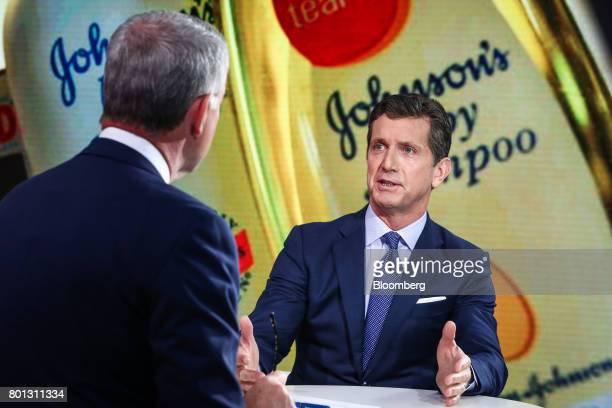 Alex Gorsky chairman and chief executive officer at Johnson Johnson speaks during a Bloomberg Television interview in New York US on Monday June 26...