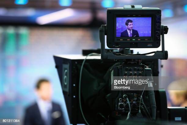 Alex Gorsky chairman and chief executive officer at Johnson Johnson is seen on a video camera display during a Bloomberg Television interview in New...