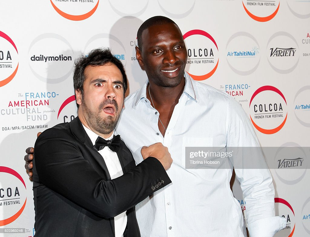 Alex Goude and Omar Sy attend opening night of the 20th annual COLCOA French Film Festival at Directors Guild of America on April 18, 2016 in Los Angeles, California.