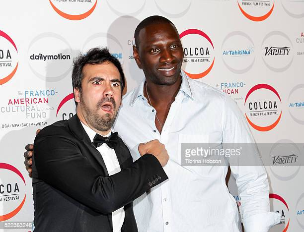 Alex Goude and Omar Sy attend opening night of the 20th annual COLCOA French Film Festival at Directors Guild of America on April 18 2016 in Los...