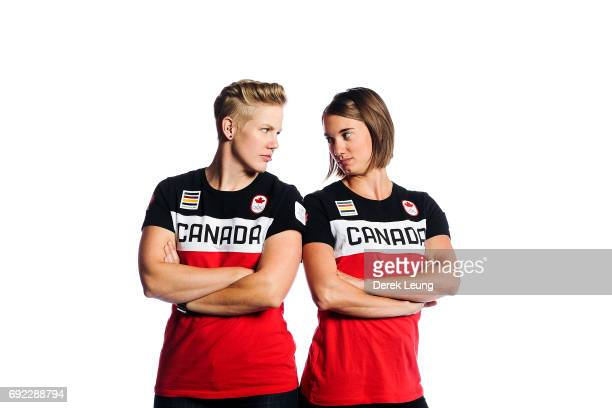 Alex Gough and Kimberley McRae pose for a portrait during the Canadian Olympic Committee Portrait Shoot on June 4 2017 in Calgary Alberta Canada