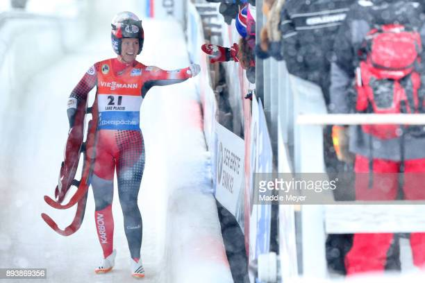 Alex Gough of Canada celebrates after completing her second run in the Women's competition of the Viessmann FIL Luge World Cup at Lake Placid Olympic...