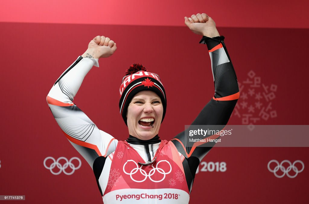 Alex Gough of Canada celebrates winning the bronze medal during the Luge Women's Singles on day four of the PyeongChang 2018 Winter Olympic Games at Olympic Sliding Centre on February 13, 2018 in Pyeongchang-gun, South Korea.