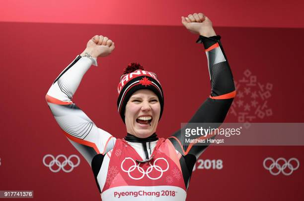 Alex Gough of Canada celebrates winning the bronze medal during the Luge Women's Singles on day four of the PyeongChang 2018 Winter Olympic Games at...