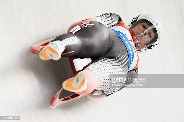 Alex Gough of Canada competes in the 1st run of the Women's FIL Luge World Cup Koenigssee at Deutsche Post Eisarena on January 3 2015 in Koenigssee...