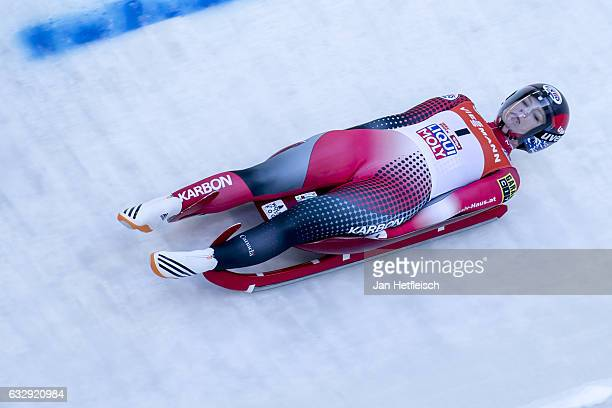 Alex Gough of Canada competes in the first heat of the Women's Luge competition during the second day of the FILWorld Championships at Olympiabobbahn...