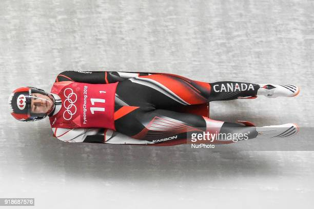 Alex Gough of Canada competing in luge Team Relay Competition at Olympic Sliding Centre at Pyeongchang South Korea on February 15 2018