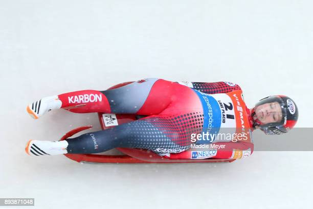 Alex Gough of Canada completes her second run in the Women's competition of the Viessmann FIL Luge World Cup at Lake Placid Olympic Center on...