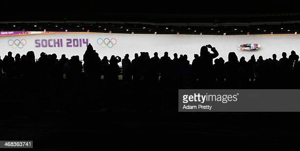 Alex Gough of Canada makes a run during the Women's Luge Singles on Day 3 of the Sochi 2014 Winter Olympics at Sliding Center Sanki on February 10,...