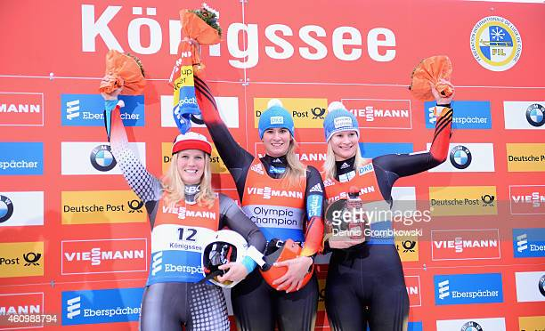 Alex Gough of Canada Natalie Geisenberger of Germany and Dajana Eitberger of Germany pose at the podium after the Women's FIL Luge World Cup...