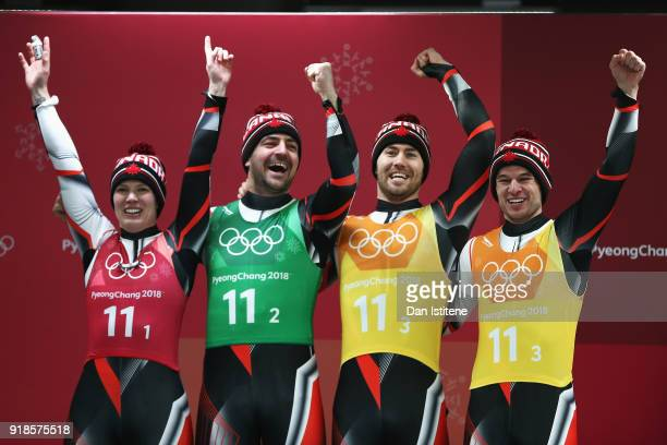 Alex Gough Sam Edney Tristan Walker and Justin Snith of Canada celebrate finishing second during the Luge Team Relay on day six of the PyeongChang...