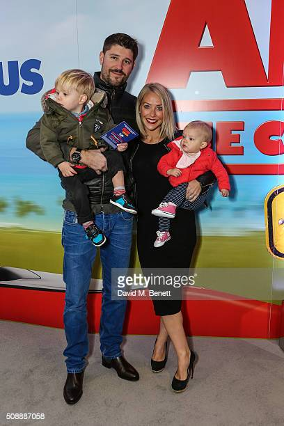 Alex Goward Laura Hamilton and children attend a Gala Screening of Alvin The Chipmunks The Road Chip at Vue West End on February 7 2016 in London...