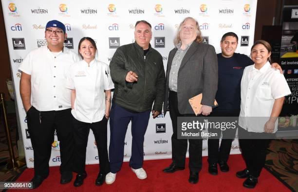 Alex Granados Stephanie De Los Santos Jose Andres Jonathan Gold Monrovia Gomez and Kim Dimalanta attend The Los Angeles Times Food Bowl Power of Food...