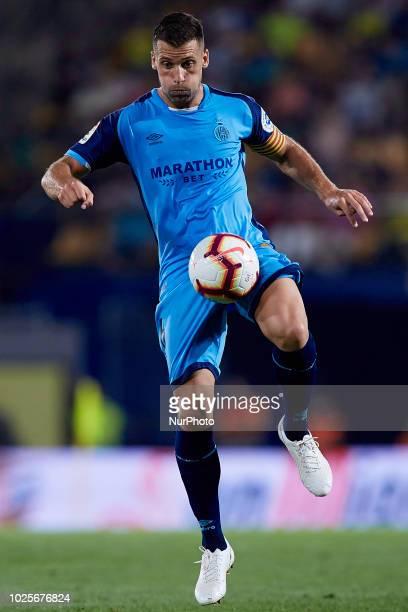 Alex Granell Nogue of Girona FC controls the ball during the La Liga match between Villarreal CF and Girona FC at Estadio de la Ceramica on August 31...
